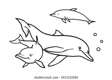 Dolphins in the ocean. Can be used for coloring book for kids. Vector illustration.