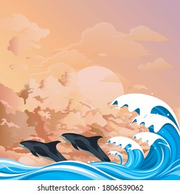 Dolphins or porpoises leaping out of the water in front of ocean waves set against a dawn or dusk pink sky