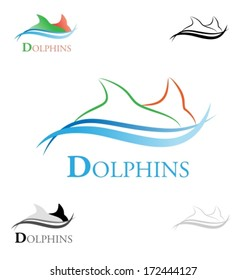 Dolphins swimming icon. Various colored variants. Vector illustration.