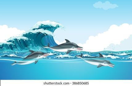 Dolphins swimming under the ocean illustration