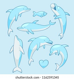 Dolphins vector set, vector cartoon illustration eps 10