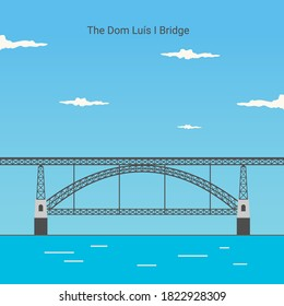 Dom Luís I Bridge in Opporto (Porto) Portugal is an icon of the city of Porto. famous for vacation destinations The landmark Portugal travel guide concept. Vector illustration