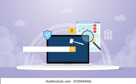 domain authority concept with laptop and searching sign symbol with browser and modern flat style - vector