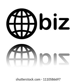 domain for business, globe and biz. Black icon with mirror reflection on white background