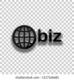 domain for business, globe and biz. Black glass icon with soft shadow on transparent background