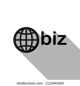 domain for business, globe and biz. Black object with long shadow on white background