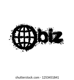domain for business, globe and biz. Black ink with splashes on white background