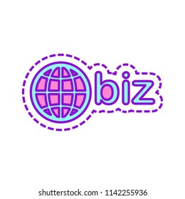 domain for business, globe and biz. Colored sketch with dotted border on white background