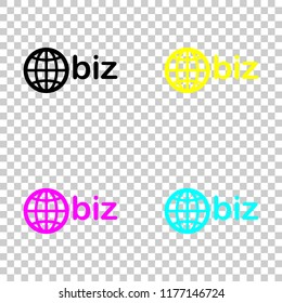domain for business, globe and biz. Colored set of cmyk icons on transparent background