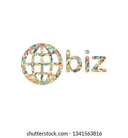 domain for business, globe and biz. Colored mosaic with polygons