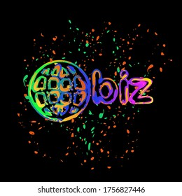 domain for business, globe and biz. Colored ink with splashes on black background