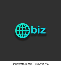 domain for business, globe and biz. Colorful logo concept with soft shadow on dark background. Icon color of azure ocean