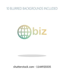 domain for business, globe and biz. Colorful logo concept with simple shadow on white. 10 different blurred backgrounds included