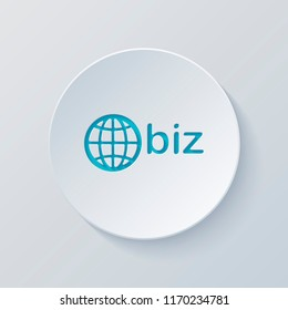 domain for business, globe and biz. Cut circle with gray and blue layers. Paper style