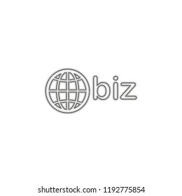 domain for business, globe and biz. Dotted outline silhouette with shadow on white background