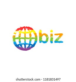 domain for business, globe and biz. Drawing sign with LGBT style, seven colors of rainbow (red, orange, yellow, green, blue, indigo, violet