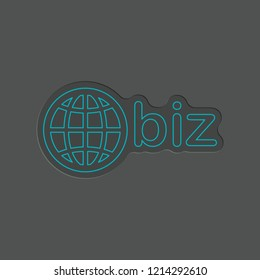 domain for business, globe and biz. Effect of 2 dark paper layers. Outline blue neon symbol