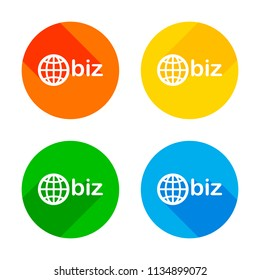 domain for business, globe and biz. Flat white icon on colored circles background. Four different long shadows in each corners