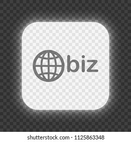 domain for business, globe and biz. Glowing square button on dark transparent grid. Neon style