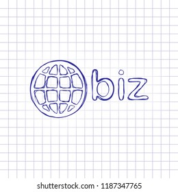 domain for business, globe and biz. Hand drawn picture on paper sheet. Blue ink, outline sketch style. Doodle on checkered background