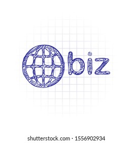 domain for business, globe and biz. Hand drawn sketched picture with scribble fill. Blue ink. Doodle on white background