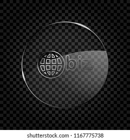 domain for business, globe and biz. Icon in circle glass bubble on dark transparent grid. Glass style