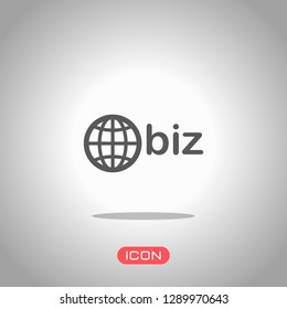 domain for business, globe and biz. Icon under spotlight. Gray background