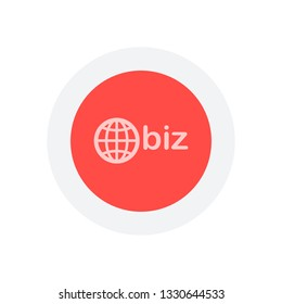 domain for business, globe and biz. Icon in colored circle with gray bold border. Web button, modern flat design