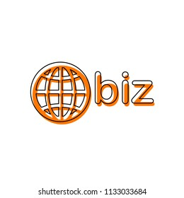 domain for business, globe and biz. Isolated icon consisting of black thin contour and orange moved filling on different layers. White background