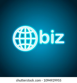 domain for business, globe and biz. Neon style. Light decoration icon. Bright electric symbol