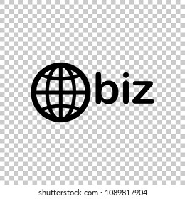 domain for business, globe and biz. On transparent background.