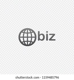 domain for business, globe and biz. On grid background