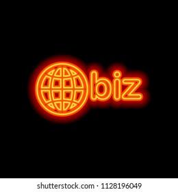 domain for business, globe and biz. Orange neon style on black background. Light icon