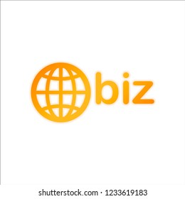domain for business, globe and biz. Orange sign with low light on white background