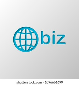 domain for business, globe and biz. Paper design. Cutted symbol with shadow