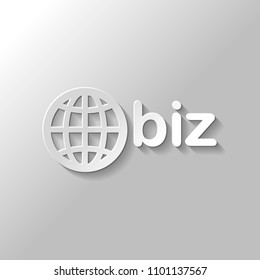 domain for business, globe and biz. Paper style with shadow on gray background