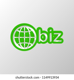 domain for business, globe and biz. Paper style. Cut symbol with green bold contour on shape and simple shadow
