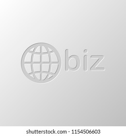 domain for business, globe and biz. Paper design. Cutted symbol. Pitted style