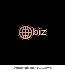 domain for business, globe and biz. Red gold style on black background