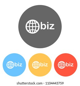 domain for business, globe and biz. Set of white icons on colored circles
