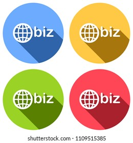 domain for business, globe and biz. Set of white icons with long shadow on blue, orange, green and red colored circles. Sticker style