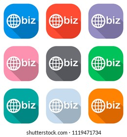 domain for business, globe and biz. Set of white icons on colored squares for applications. Seamless and pattern for poster