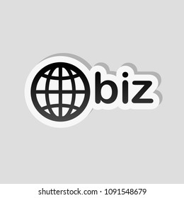 domain for business, globe and biz. Sticker style with white border and simple shadow on gray background