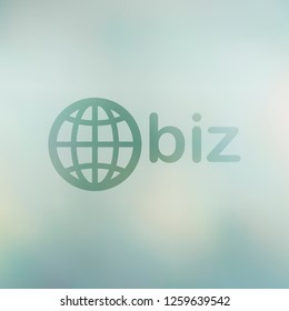 domain for business, globe and biz. Transparent symbol on soft blurred background