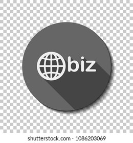 domain for business, globe and biz. White flat icon with long shadow in circle on transparent background. Badge or sticker style