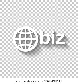 domain for business, globe and biz. White icon with shadow on transparent background