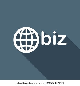 domain for business, globe and biz. White flat icon with long shadow on background