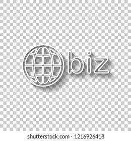 domain for business, globe and biz. White outline sign with shadow on transparent background