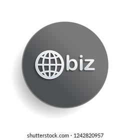 domain for business, globe and biz. White paper symbol on gray round button or badge with shadow