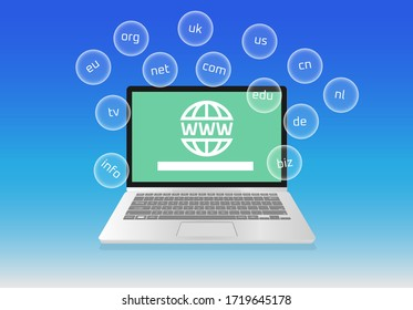 Domain extensions on bubble Global Communication WWW Homepage on laptop